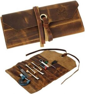 Leather Tool Roll Up Pouch